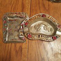 2 Tin Ashtray Vintage Minnesota & Oklahoma  Souvenir Made In Japan 1970's