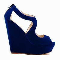 Women's Wedges Platforms Shoes Peep Toes Pumps Suede Fabric Sandals AU Size
