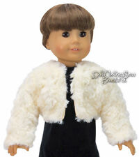 """Cream Fur Shrug Winter Jacket for 18"""" American Girl Doll Clothes Accessories"""