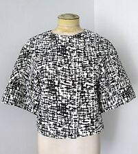 NWT Kenneth Cole Black White Abstract Zip Jacket Cropped Blazer Wide 3/4 Slvs 4