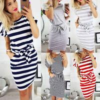 Women Short Sleeve Striped Bodycon Dress Slim Fit Drawstring Midi T-Shirt Dress
