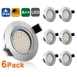 6X 5W LED Einbaustrahler dimmbar 230V Bad IP44 Einbauleuchten Decken-Spots Lampe