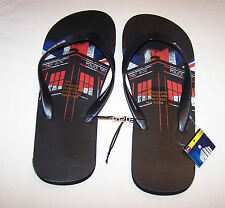 BBC Doctor Who Mens Tardis UK Flag Black Printed Thongs Size 7 New