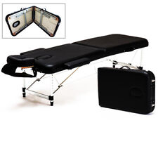 Aluminum Portable 2 Fold Massage Table w/ Floor Facial Bed Spa Tattoo Carry Case