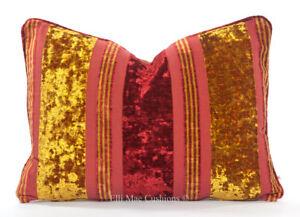 Brian Yates Luxury Designer Gold Red Velvet Cushion Pillow Sofa Throw Cover