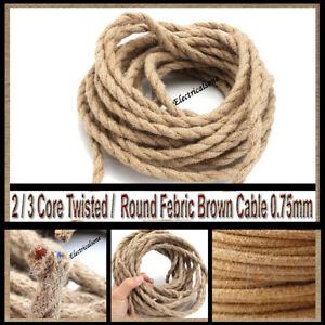 Hemp Lighting Cable Silk Braided Vintage Fabric Coloured Flex 2/3 core 0.75mm UK