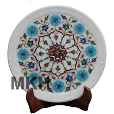 Wall Decorative Marble Inlay Plate Antique Serving Stone Art Vintage Marquetry