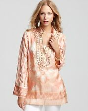 Tory Burch Tunic  $395 Iveta Habotai Silk Sz 8 Classic Resort Cruise   M