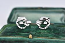 Vintage Mens Sterling Silver cufflinks with Art Deco Dolphin design #G757