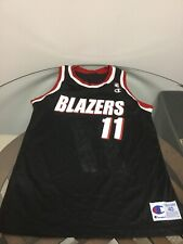 Portland Trail Blazers Arvydas Sabonis Black Champion Jersey 40 Good Condition.