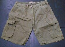 Bermuda uomo verde militare cargo 100% cotone tasche laterali regular fit