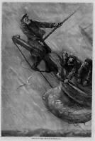 SAILING, ALOFT IN A GALE, BY SOL EYTINGE ANTIQUE PRINT