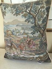 Vintage Tapestry Pillow ITALY!! Children Horse Lush Gardens Feather Down Insert!