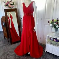 Long Red dress train embellishments V Neck Roses aprox size 8-10 Womens