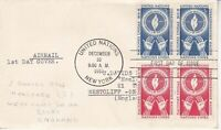 United Nations NY16 - Enveloppe 1er jour 1953 Human Rights Airmail 3c+5c