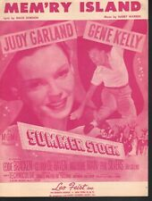 Mem'ry Island 1950 Summer Stock Judy Garland Gene Kelly Sheet Music