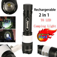 White Red Torch T6 LED Camping Lamp Rechargeable Flashlight 2 in 1 Lantern Light