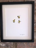 Three Bumble Bees, Original Signed Art Watercolour Painting, Not A Print, Gift