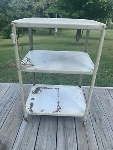 Vintage Metal 3 Tier Cart With Electric Outlet Bar Cart Wood Castor Wheels