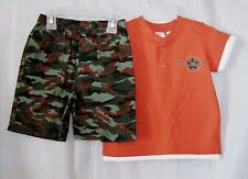 Toddlers Henley Short Sleeve Double Shirt Look W/ Camouflage Shorts Size 3T New