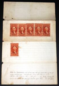 US Revenue Stamps #R81c (x6) on Document 1867