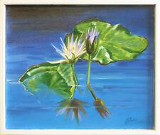 """""""Waterlilies in blue"""" oil on canvas, Irek T. Szelag"""