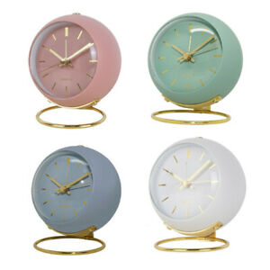 Non-ticking Silent Analog Alarm Clock Retro Bedside Office Bell Clock with Light