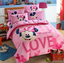4pcs/set Hot Pink Minnie Kids Bedding Set Duvet Cover Bed Sheet twin full queen