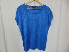 Elementz Women's Solid Blue Textured Cap Sleeve Scoop Neck Blouse Shirt Size 1X