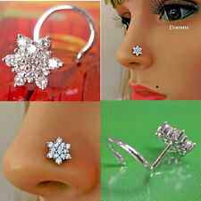 Engagement Nose Ring Stud Piercing Pin 13 pcs Natural Si Diamonds 8.0mm Flower
