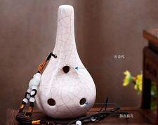 Brand Hongxiao White crack 6 holes Pottery Ceramic Ocarina Alto C