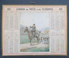 Calendrier Almanach 1923 Retraite prise Chasse à courre Hunting cor calendar