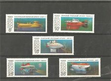 5 MNH stamps (set) with batiscafs, 1990 year issue
