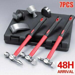 7pcs Auto Dent Body Panel Repair Tool Kit Hammer Dolly Fender Panel Beating Set