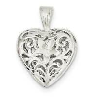 .925 Sterling Silver Filigree Heart Charm Pendant - QC581VJ5217