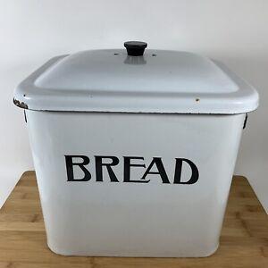 "Vintage Farmhouse BREAD BOX with Lid, White Enamel Metal / Large 11' H x 12"" W"