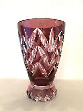 Petit vase en Cristal Val Saint Lambert - doublé prune - non signé
