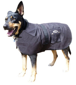 Oilskin Dog Coat Nullarbor Rug Waterproof Winter Sherpa Fur Lined 25Cm-85Cm