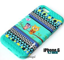 For iPhone 6 / 6S - HARD & SOFT RUBBER HYBRID SKIN CASE TURQUOISE GREEN TREE OWL