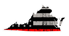 Virginia State (C46) Thin Red Line Vinyl Decal Sticker Car/Truck Laptop/Netbook