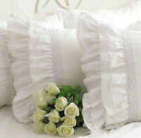 Shabby Chic Multi-Ruffles Edge Lace Pillowcase Slip Cover White Cotton Matching