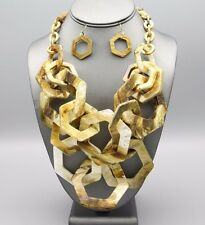 Neutral Resin Shell Tortoise HEXAGON Link Multistrand Brown Chain NECKLACE Set
