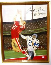 Framed Dwight Clark & ARTIST Signed Autographed Football Painting The Catch 49er