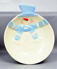 Navidad Vajilla cerámica azul y blanco muñeco de nieve bol NUEVO