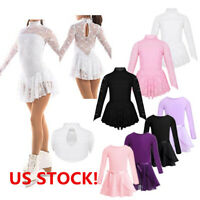 US Kids Girls Ballet Dance Leotard Lace Skating Dress Costume Training Dancewear