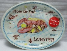 """New listing """"How to Eat a Lobster"""" Oval Plastic Plates Set Of Four New & Sealed 13""""×10"""""""