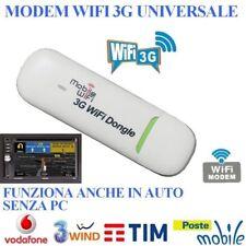 INTERNET KEY chiavetta UNIVERSALE CONNESSIONE 3G HSDPA 100Mbps SIM USB MODE WIFI