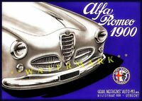 Alfa Romeo 1900 Italian Car 1958 Vintage Poster Print Classic Advertisement Art