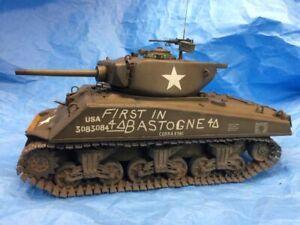 Cobra King  BUILT 1/18th First in Bastogne  Jumbo Sherman  Tank Ultimate Soldier