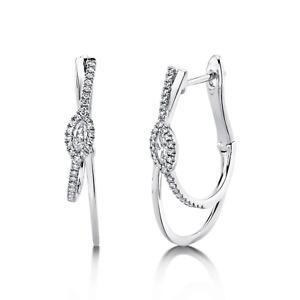 "Diamond Marquise Oval Hoop Earrings 14k White Gold Natural 0.30ct F VS 1.0"" Long"
